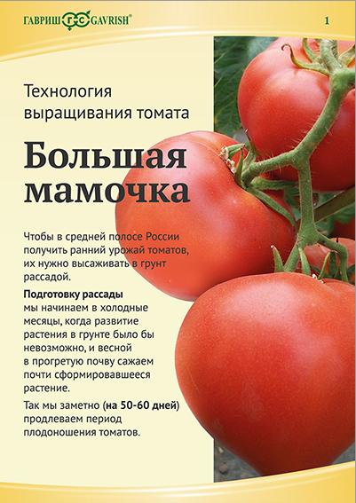 Технология выращивания томата Большая мамочка